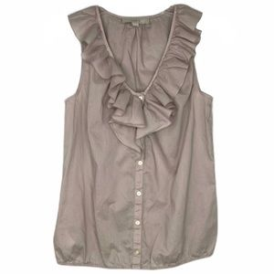Loft Gray Ruffle Sleeveless Button Up Blouse